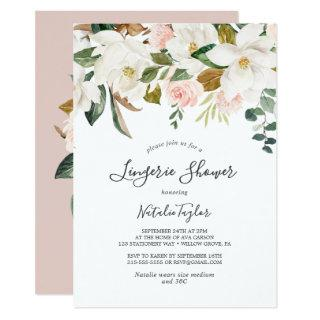 Elegant Magnolia | White and Blush Lingerie Shower Invitations