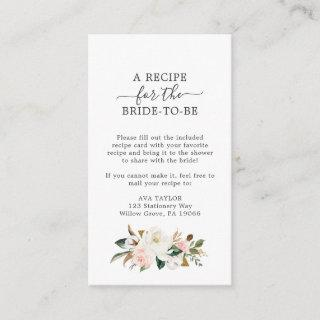 Elegant Magnolia | White and Blush Recipe Request Enclosure Card