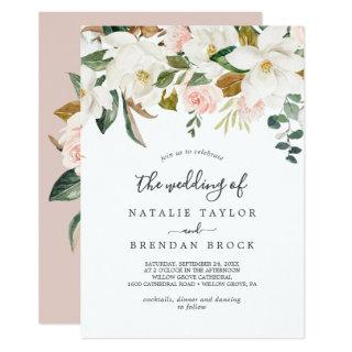Elegant Magnolia | White and Blush The Wedding Of Invitation