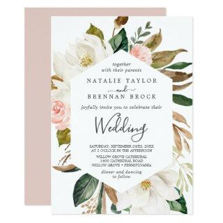 Elegant Magnolia | White and Blush Wedding Invitation