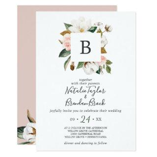 Elegant Magnolia White & Blush All In One Wedding Invitations