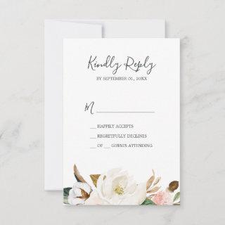 Elegant Magnolia | White & Blush Simple RSVP Card