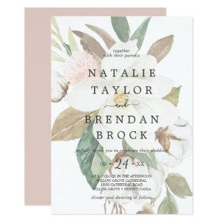 Elegant Magnolia | White Faded Floral Wedding Invitation