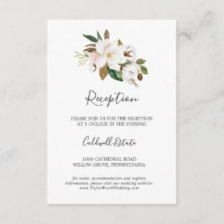 Elegant Magnolia | White Reception Insert Card
