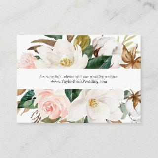 Elegant Magnolia | White Wedding Website Enclosure Card