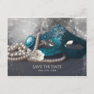 Elegant Masquerade Mask & Pearls Save the Date Announcement Postcard