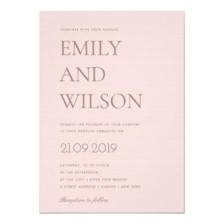 ELEGANT MINIMAL BLUSH PINK ROSE GOLD WEDDING INVITATION