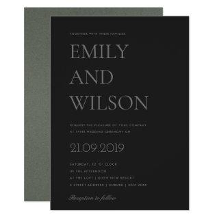 ELEGANT MINIMAL SIMPLE BOLD BLACK GREY WEDDING Invitations