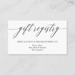 Elegant Minimalist Calligraphy Gift Registry Enclosure Card