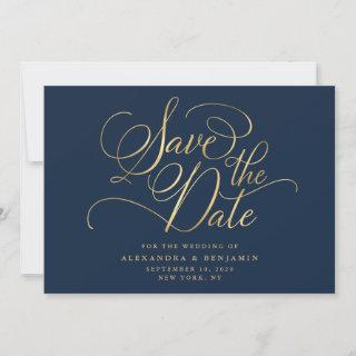 Elegant Minimalist Navy & Gold Wedding Save The Date