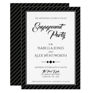 Elegant Modern Black and White Engagement Party Invitation