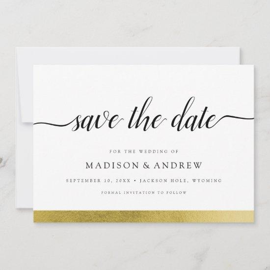 Elegant Modern Calligraphy Gold Save the Date