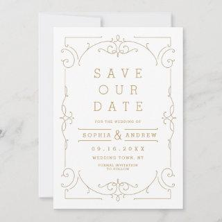 Elegant modern classic wedding save the date