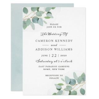 Elegant Modern Eucalyptus Wedding Invitations