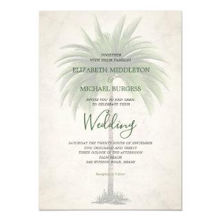 Elegant Modern Green Palm Formal Champagne Wedding Invitation