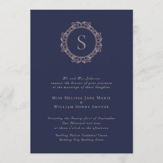 Elegant Monogram Copper Blush Navy Wedding Invitation