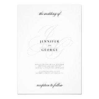 Elegant monogram initals stylish white wedding invitation