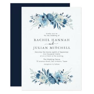 Elegant moonlight blue watercolor floral wedding Invitations