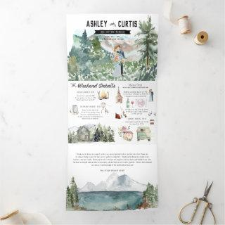 Elegant Mountain Wedding | Tri-Fold Invitation