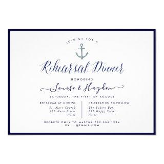 Elegant Nautical Navy Blue Anchor Rehearsal Dinner Invitation