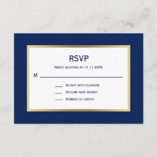 Elegant Nautical Navy Blue White  RSVP Wedding