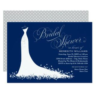 Elegant Navy and Silver Gown Bridal Shower Invitations