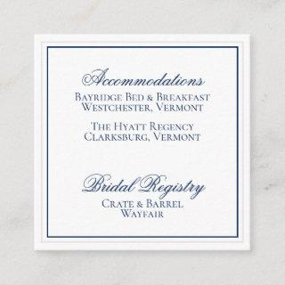 Elegant Navy Blue and White Wedding Details Card