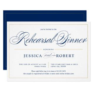 Elegant Navy Blue Calligraphy Rehearsal Dinner Invitations