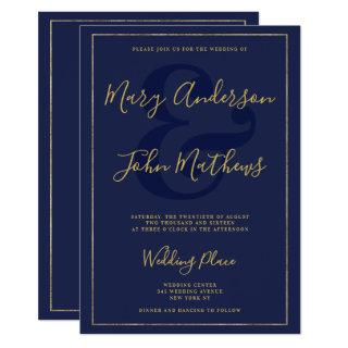 Elegant navy blue chic gold foil border wedding Invitations