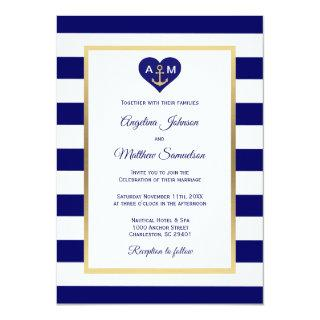 Elegant Navy Blue Gold Heart Nautical Wedding Invitation