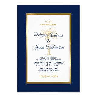 Elegant Navy Blue Gold Palm Tree Modern Wedding Invitation