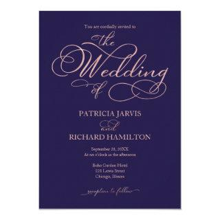 Elegant Navy Blue Rose Gold Foil Script Wedding Invitations