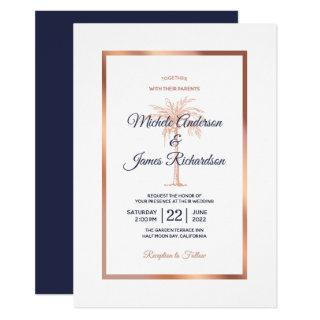 Elegant Navy Blue Rose Gold Palm Tree Wedding Invitations