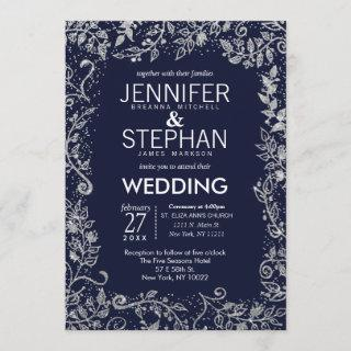 Elegant Navy Blue Silver Floral Glitter Wedding Invitations
