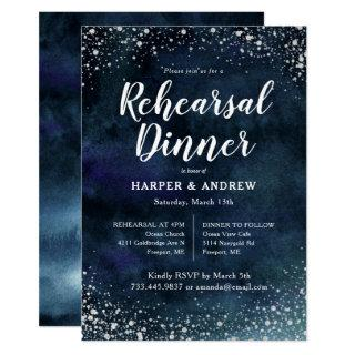 Elegant Navy Blue Silver Glitter Rehearsal Dinner Invitations