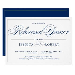 Elegant Navy Blue Silver Lines Rehearsal Dinner Invitation