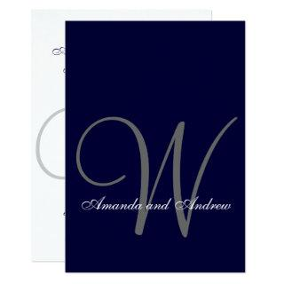 Elegant Navy Blue White Wedding Invitations Initial
