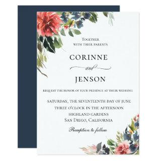 Elegant Navy Coral Botanical Wedding Invitation