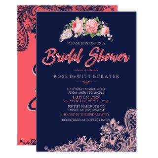 Elegant Navy & Coral Bridal Shower Invitations