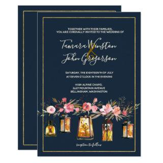 Elegant Navy Coral Floral Gold Lights Wedding Invitations