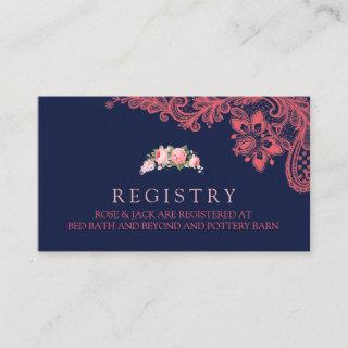 Elegant Navy & Coral Lace Wedding Registry Card