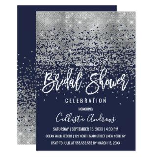 Elegant Navy Silver Glitter Confetti Bridal Shower Invitation