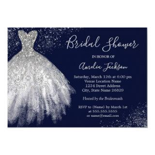 Elegant Navy Wedding Gown Bridal Shower Invitations