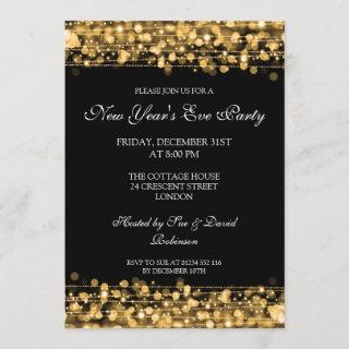 Elegant New Years Eve Party Sparkles Gold Invitations