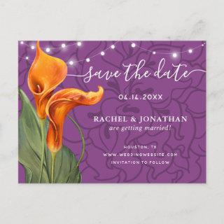 Elegant Orange Calla Lily Floral Save the Date Announcement Postcard