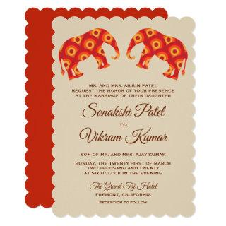Elegant Orange Elephants Indian Wedding Invitation