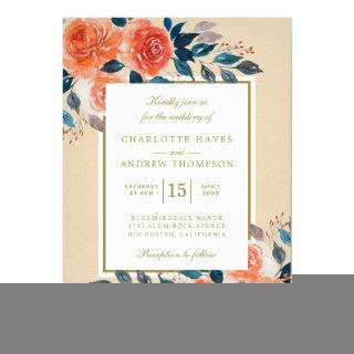 Elegant Orange Floral Watercolor Wedding Invitations