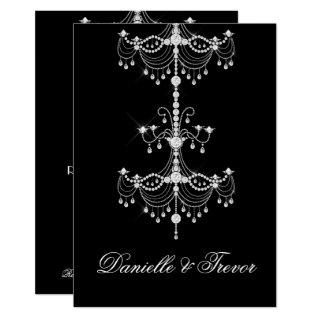 Elegant Ornate Diamond Chandelier on Black Wedding Invitation