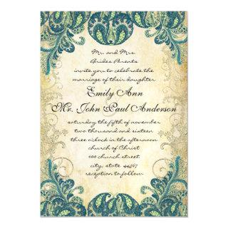 Elegant Paisley Peacock Blue Green and Gold Magnetic Invitation