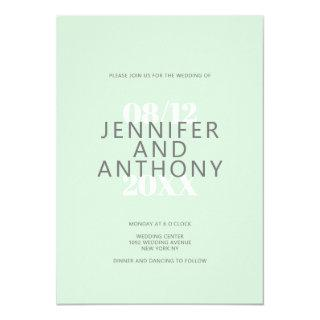 Elegant pastel green gray white typography wedding invitation